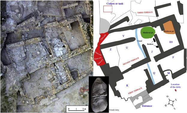 Photo (left) and plan of the sanctuary Puerta del Sol (right) and distribution of rooms, caves and stele of female deity.